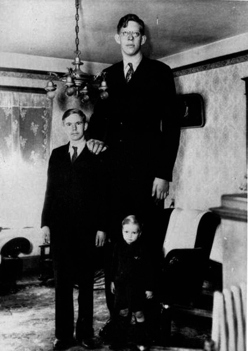 Wadlow was the oldest of five children. Here's Wadlow on his 17th birthday with his two younger brothers.