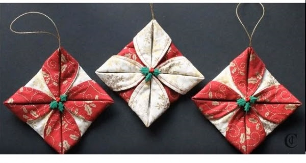 Tutorial: Folded fabric Christmas ornaments