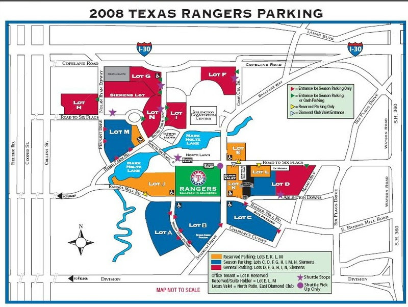 Texas Rangers Parking Map Texas Rangers Parking Map | Color 2018