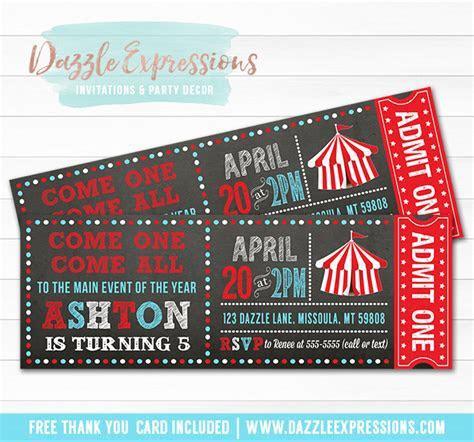 Printable Circus or Carnival Chalkboard Ticket Birthday