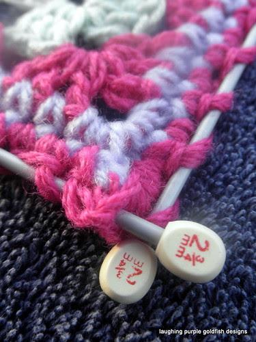 needle blocking, closeup