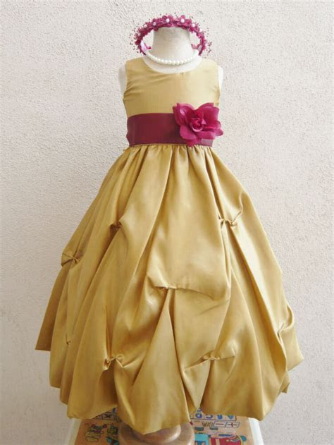 gold burgundy wine pageant flower girl dress size