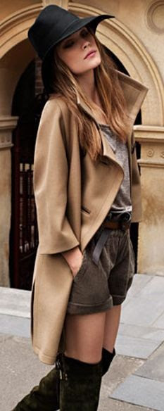 camel boxy coat, sick hat, and over the knee boats paired with trouser shorts...perfect for fall