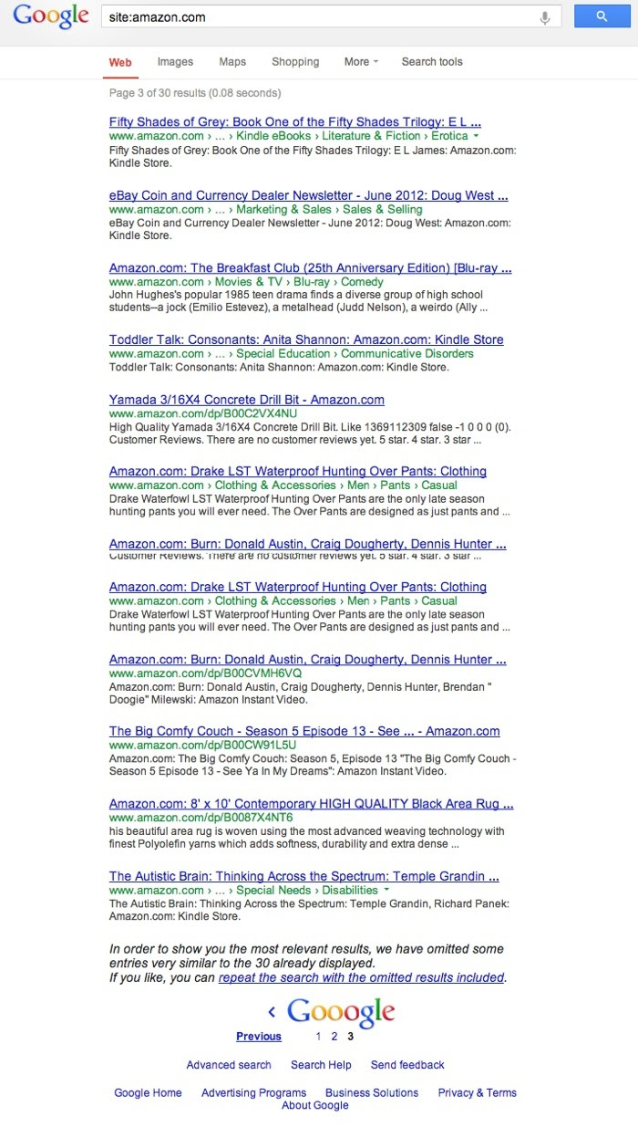 amazon site search Google Domain Clustering Update?