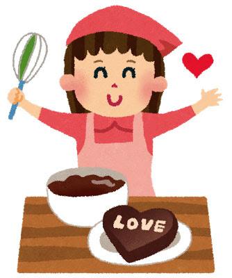 無料素材 ハート型の手作りチョコレートを完成させた女の子の可愛い