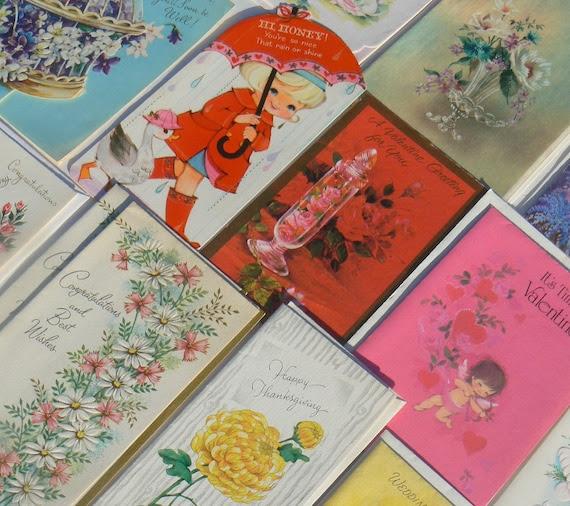 bloomdar vintage Lot Vintage Assorted Greeting Cards Unused
