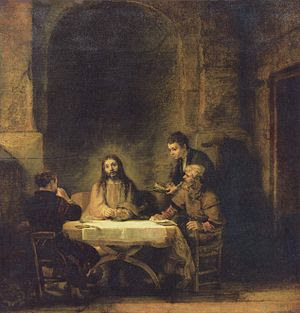 Christ at Emmaus by Rembrandt, 1648, Louvre.