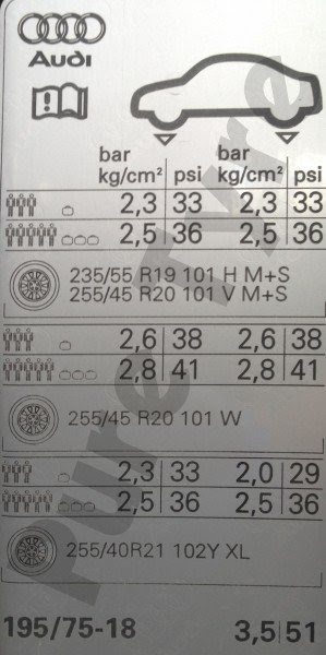 Audi Q5 Tyre Pressure Placard Pure Tyre 01603 462959