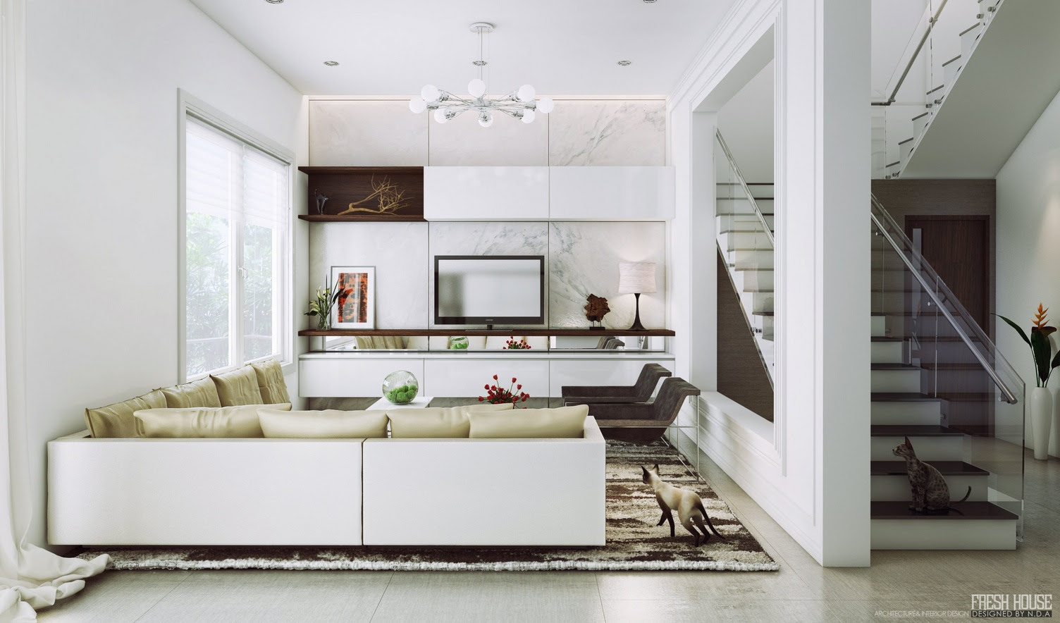 | contemporary white living roomInterior Design Ideas.