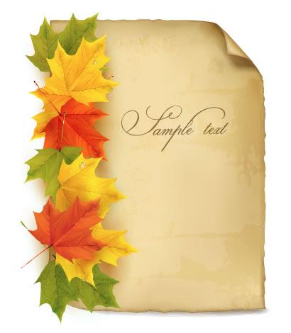 落ち葉 紙 秋の紅葉飾りのイラストai Eps ベクタークラブ