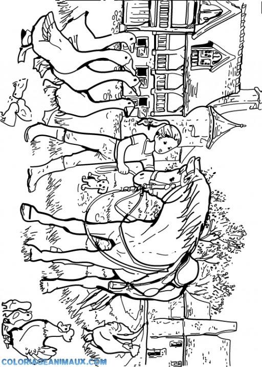 Coloriage Cheval Dans La Ferme Danimaux à Imprimer