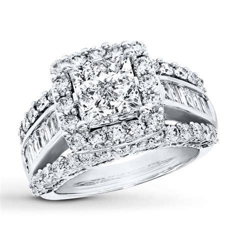 Diamond Engagement Ring 3 cttw Princess/Baguette 14K White