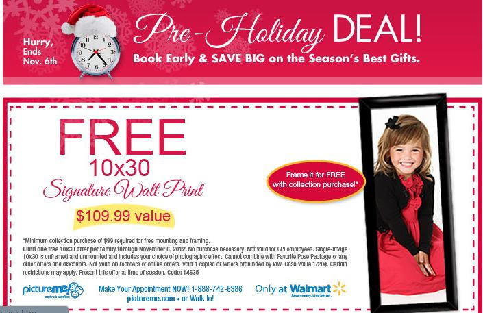 pictureme coupon Free 10x30 Wall Print from PictureMe at Walmart ($109.99 value)
