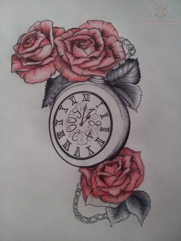 Clock And Red Roses Tattoo Design