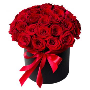 Dubai Love Box Flower Delivery 20 Roses In A Hat Box Flower