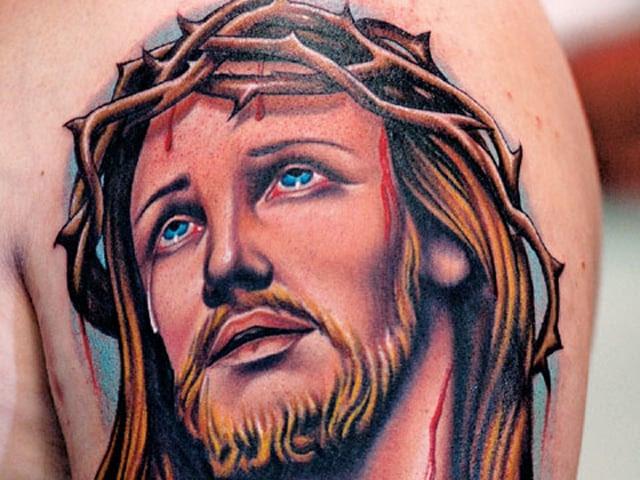Color Jesus Christian Tattoo On Left Half Sleeve Tattoo Bytes