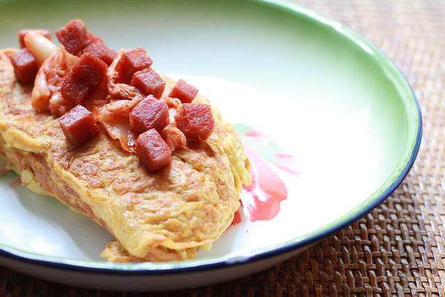 Kimchi Ramyun with Spam Omelette