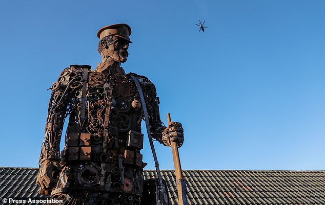 A soldier made out of scrap metal