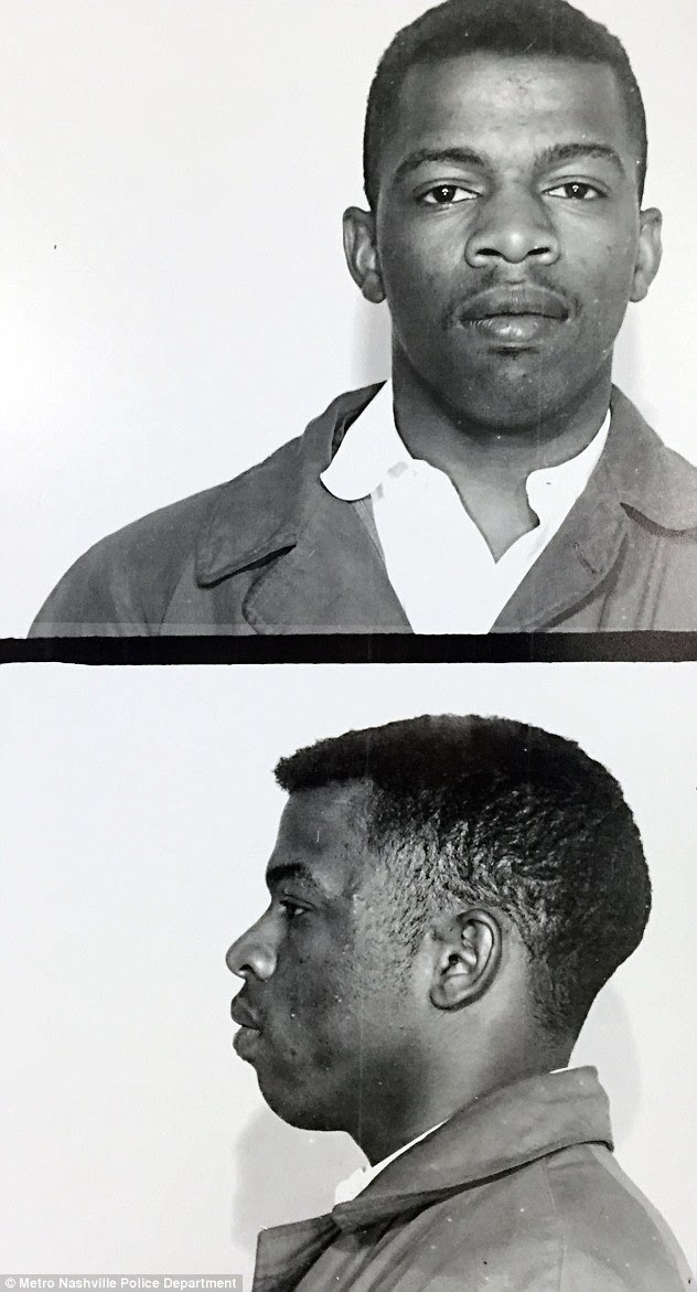 Rather shared his thoughts in a Facebook post , saying: ' One can easily understand why Mr. Lewis' comment would anger Mr. Trump because it is a real threat. The famed and respected Civil Rights leader is putting into words what few of his political peers have dared say out loud.' He is pictured here in police mugshots after being arrested at Nashville student movements, which is where he got his start in civil rights campaigning