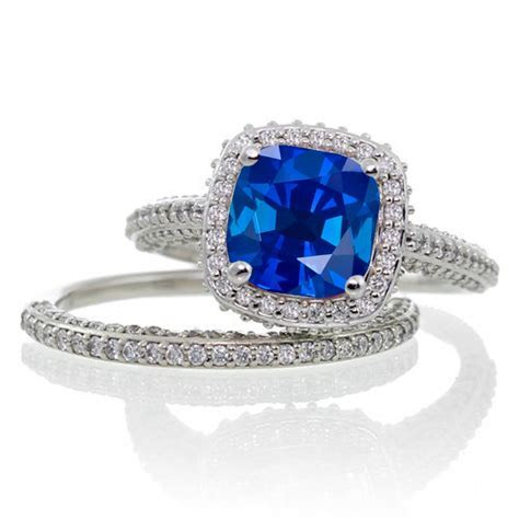 2.5 Carat Cushion Cut Designer Sapphire and Diamond Halo