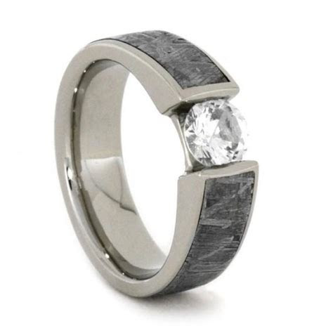 White Sapphire Gold Ring Inlaid W Meteorite, 14k White
