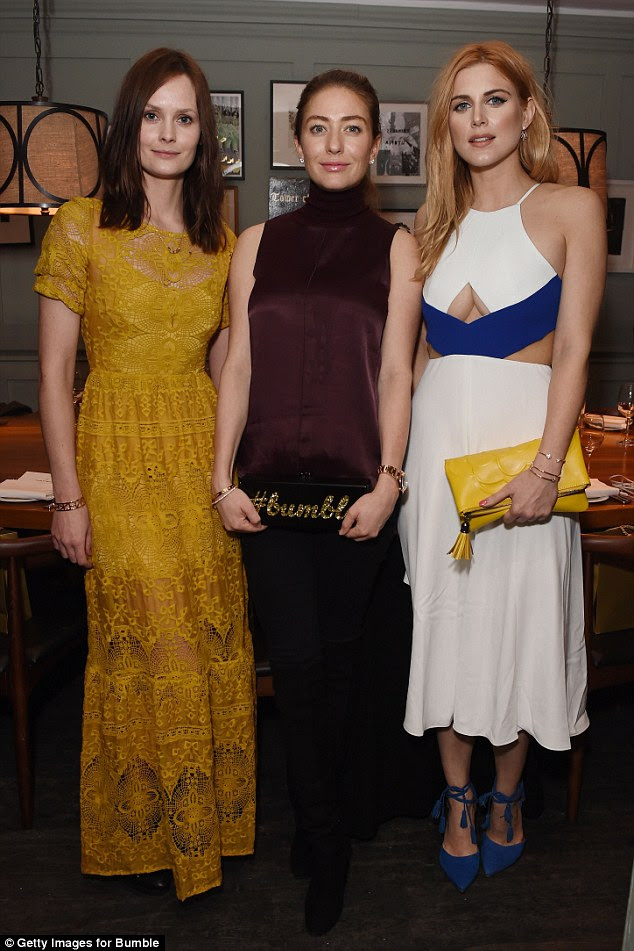 Three's a cool crowd: Charlotte De Carle and Ashley James attend a private dinner hosted by Whitney Wolfe, founder and CEO of Bumble dating app, at Soho House