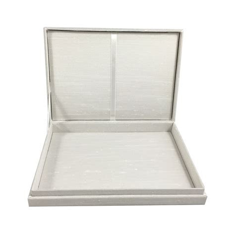 Invitation Box In Ivory With Hinged Lid & Dupioni Silk