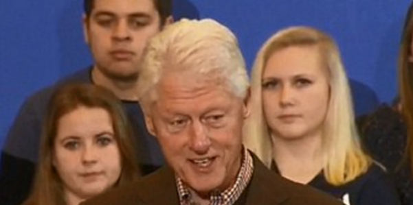 The girls behind Bill Clinton made media waves for their facial expressions. (Credit: CNN)