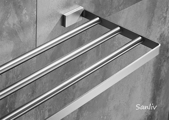 Square Towel Rackshelf In Satin Brushed Stainless Steel Bath