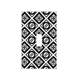 Black Equal Sign Geometric Pattern on White Switch Plate Covers