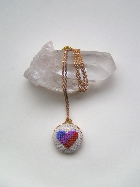 Ancho Heart Cross Stitched Pendant Necklace