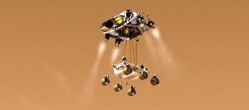 Computer-generated artwork showing the MARS SCIENCE LABORATORY (MSL) being lowered onto the Martian surface by its descent stage.