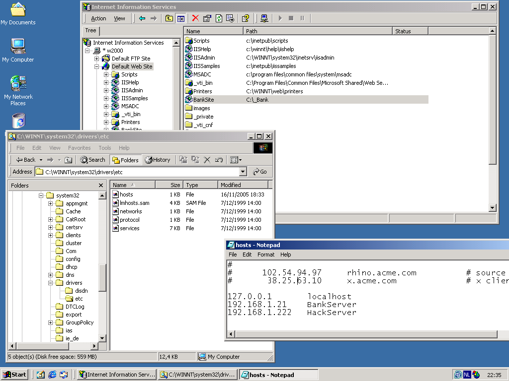 Screenshot of IIS Manager and HOSTS file