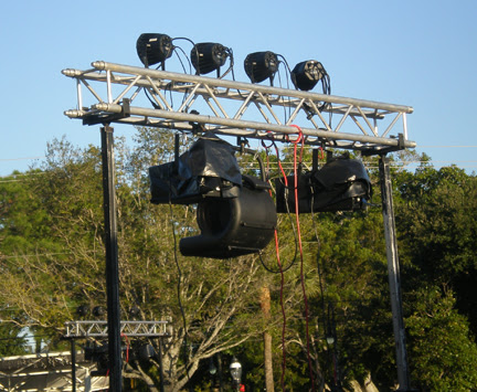 Fake snow machines of  tripods and truss
