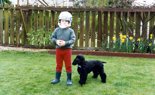 M and Scooter play ball