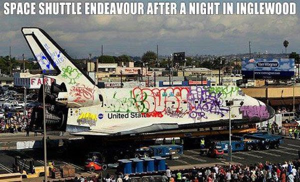 How Endeavour would've looked passing through the City of Inglewood if the police were too busy snackin' at donut shops.