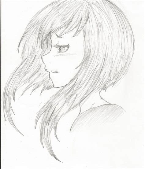 manga girl hair side view eyes side view anime