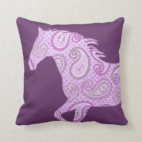 Cute Purple Paisley Horse Pillows