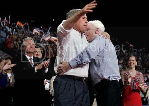 McCain hugging Bush