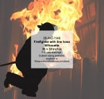Firefighter with line hose Silhouette Woodworking Pattern - fee plans from WoodworkersWorkshop® Online Store - firefighting equipment,firefighters,fireman,firemen,yard art,painting wood crafts,scrollsawing patterns,drawings,plywood,plywoodworking plans,woodworkers projects,workshop blueprints