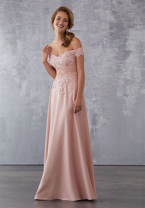 Crepe Social Occasion Dress with Beaded Venice Lace
