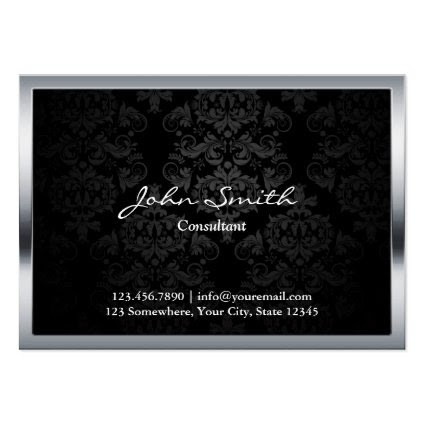 Chubby Black Damask Metal Border Business Card