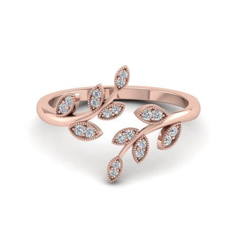 Open Leaf Diamond Engagement Ring In 14K Rose Gold