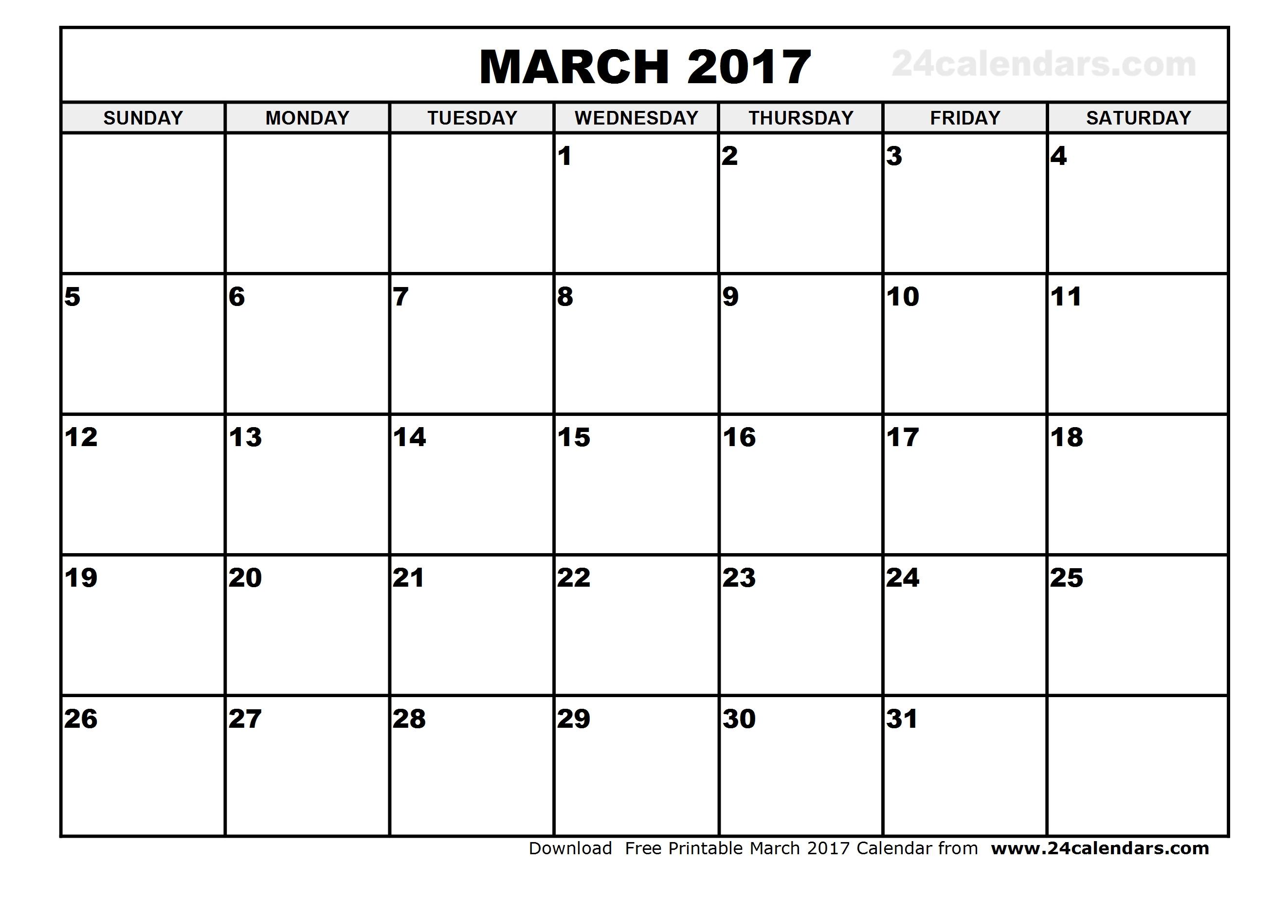March 2017 Calendar India – 2017 March Calendar