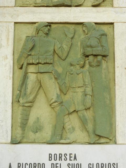 prima formella dal basso, Monumento ai caduti, Virgilio Milani, Borsea