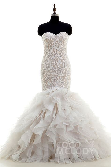 Mermaid Court Train Organza and Lace Wedding Dress