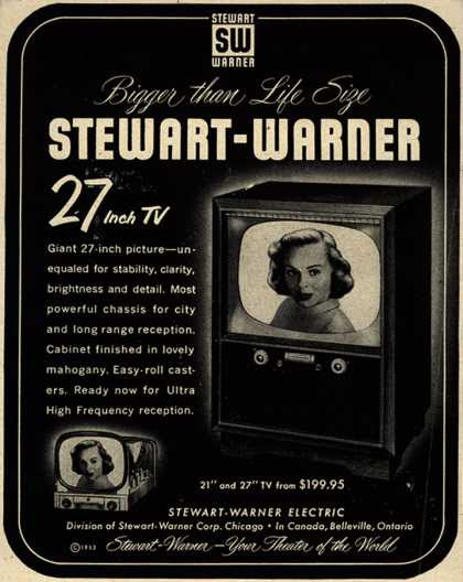 Stewart-Warner Corporation's 27 inch TV – Bigger than Life Size Stewart-Warner 27 Inch TV (1953)