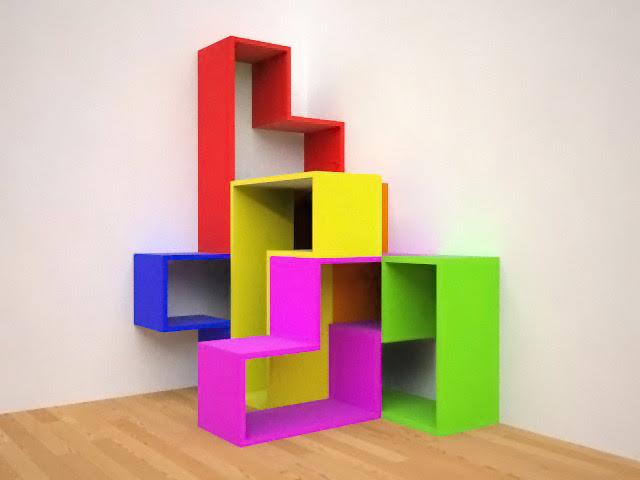 rak buku berbentuk tetris