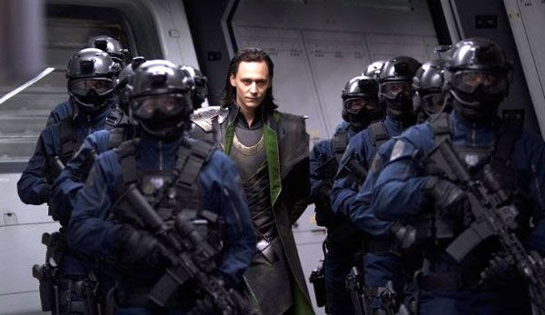 Loki is taken prisoner by S.H.I.E.L.D. soldiers in THE AVENGERS.