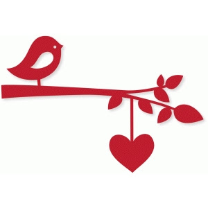 Bird branch w/heart string Design ID #74007